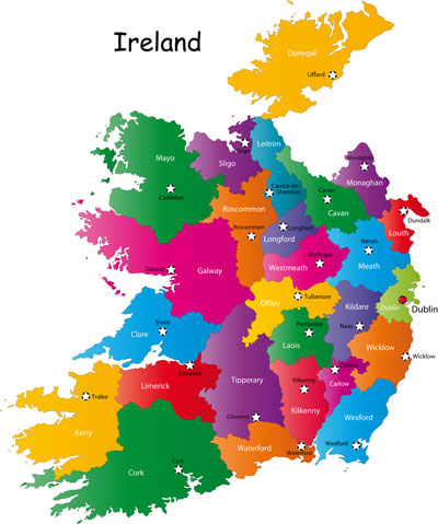 Ireland counties and capital cities map