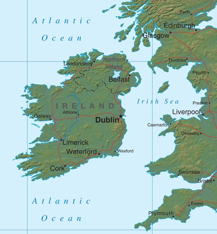 relief map of Ireland